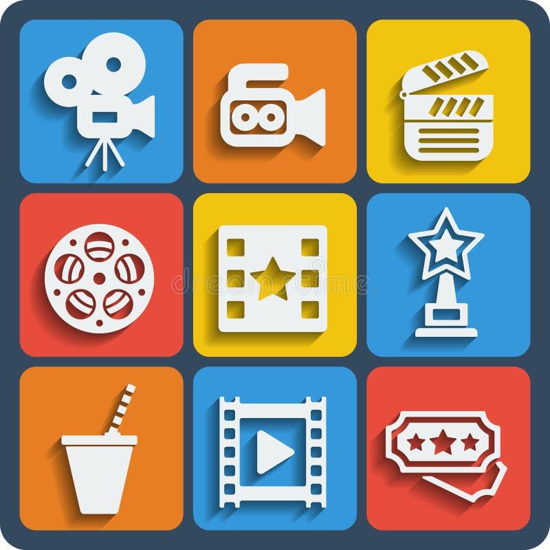 Un insieme delle icone di web e del cellulare di 9 cinema Vettore royalty illustrazione gratis