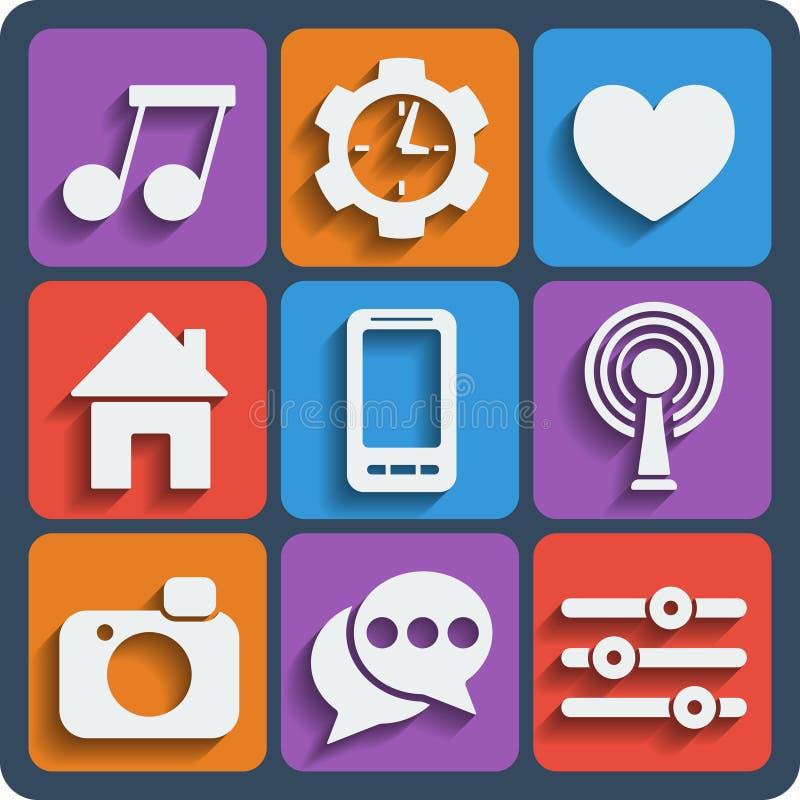 Un insieme delle icone di web e del cellulare di 9 interfacce Vettore illustrazione di stock