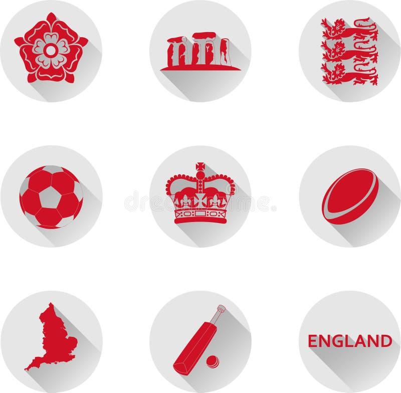 Un insieme delle icone piane dell'Inghilterra, uno stato presso il paese del Regno Unito royalty illustrazione gratis
