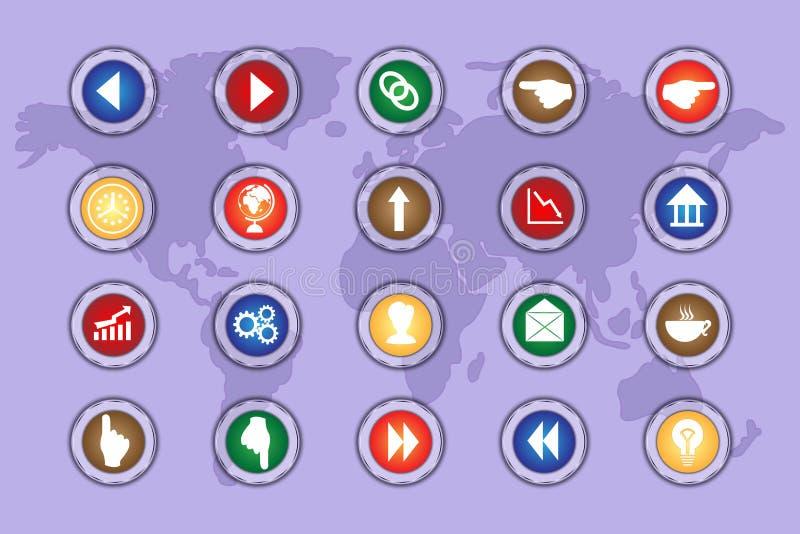 Un insieme delle icone sui bottoni colorati con gli elementi trasparenti Parte 2 royalty illustrazione gratis