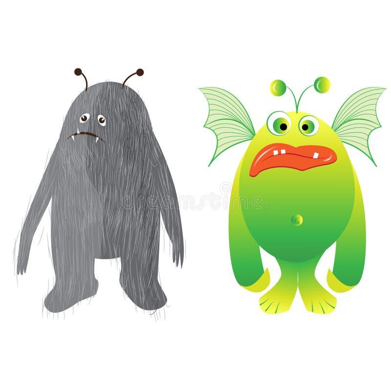 Un insieme delle illustrazioni dei mostri tipici del fumetto Illustrazione disegnata a mano con i caratteri svegli ed adorabili,  royalty illustrazione gratis