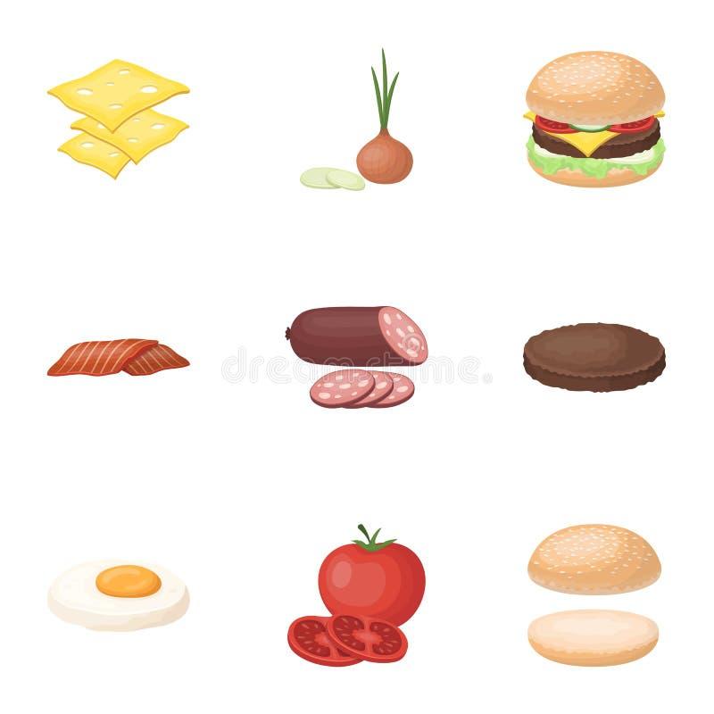 Un insieme delle immagini circa gli hamburger e gli ingredienti per un panino Icona degli ingredienti del ANG degli hamburger nel royalty illustrazione gratis