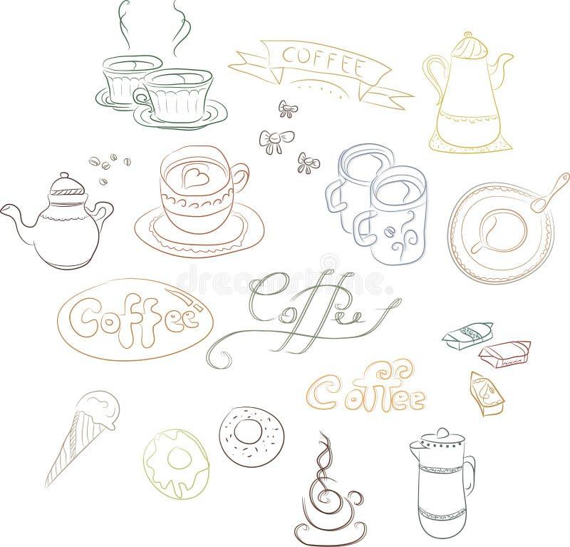 Un insieme delle immagini di contorno dei piatti del caffè fotografia stock