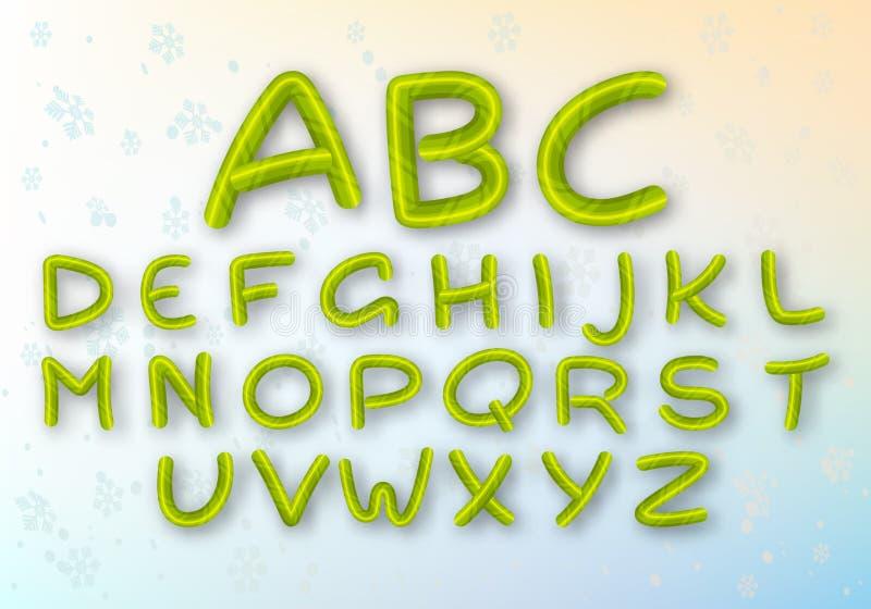 Un insieme delle lettere verdi del caramello La fonte del nuovo anno intelligente di vettore ABC Alfabeto a strisce del fumetto royalty illustrazione gratis