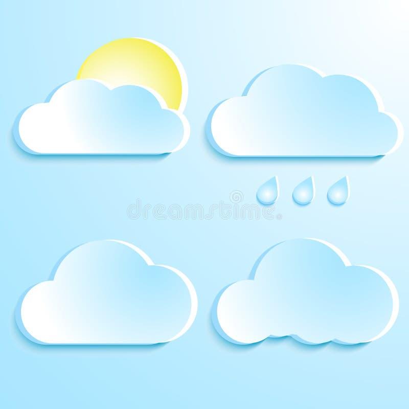 Un insieme delle nuvole Nuvole blu con ombra tempo Gocce di pioggia e royalty illustrazione gratis