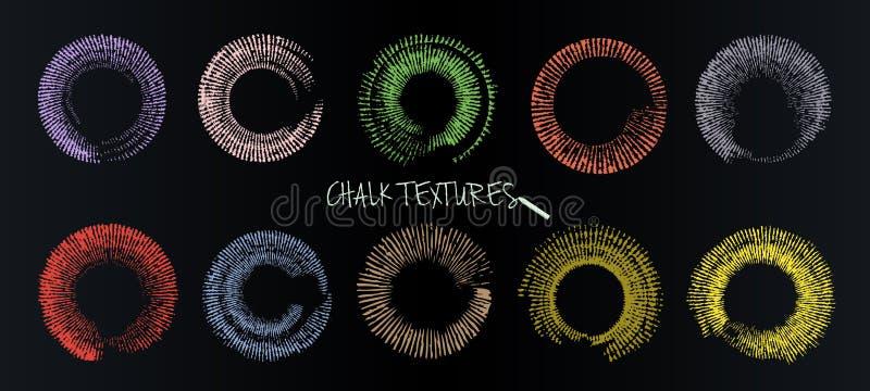 Un insieme delle pennellate di vettore Gesso e carbone Vernici i punti Struttura di Grunge Cerchi colorati sotto forma di luce so royalty illustrazione gratis