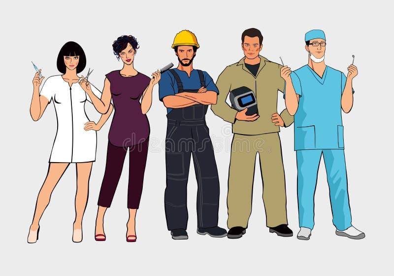 Un insieme delle professioni differenti Figure del supporto della donna e dell'uomo insieme illustrazione di stock