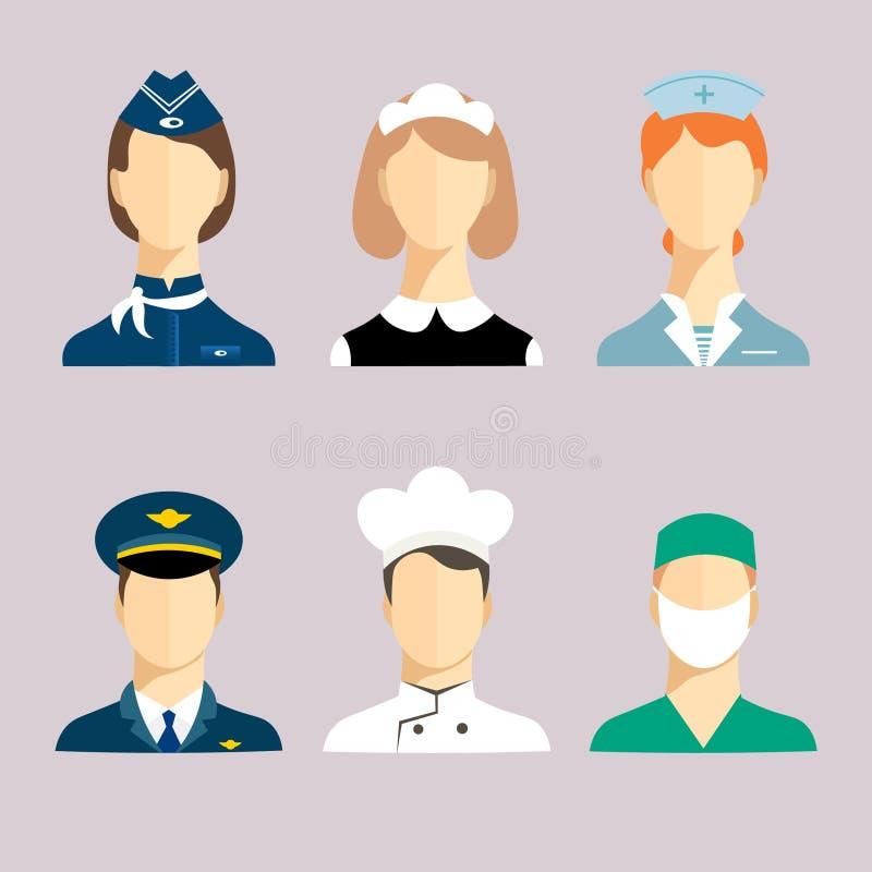 Un insieme delle professioni per gli uomini e le donne illustrazione di stock