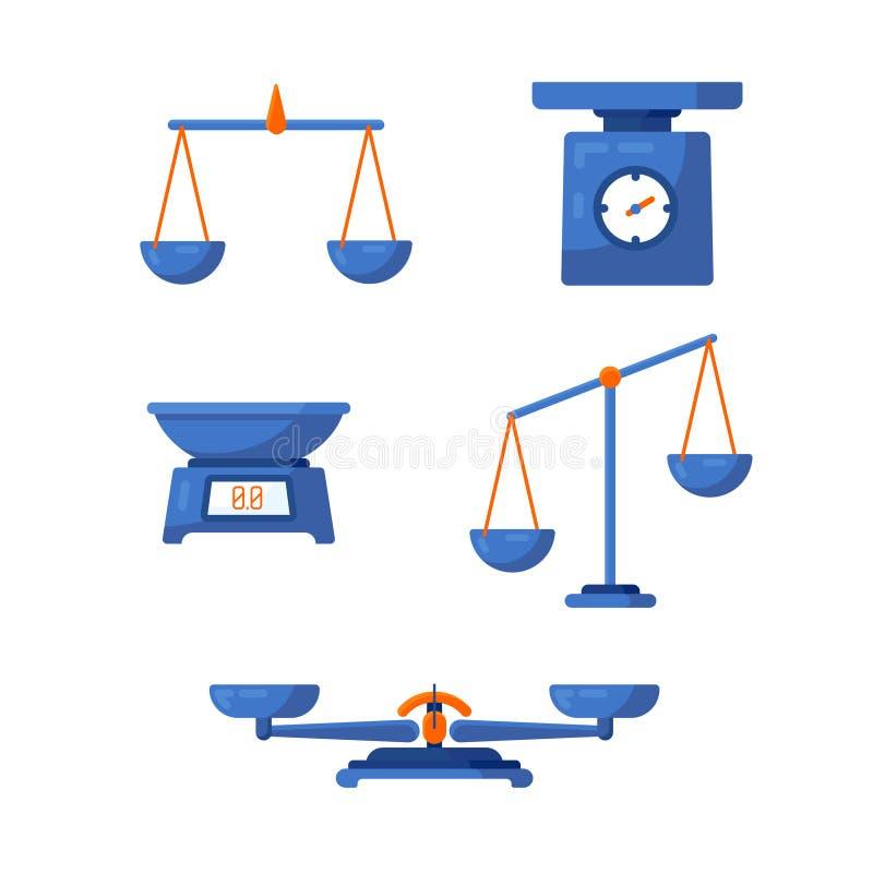 Un insieme delle scale differenti in uno stile piano illustrazione di stock