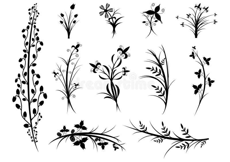 Un insieme delle siluette dei fiori e delle piante su fondo bianco. illustrazione di stock