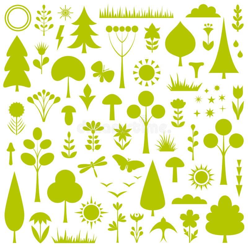 Un insieme delle siluette per creare un paesaggio della foresta Vettore royalty illustrazione gratis