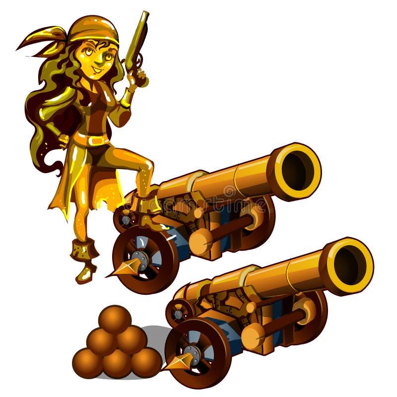 Un insieme delle statue di un pirata della ragazza ha fatto l'oro isolato su un fondo bianco Un cannone con le palle di cannone V illustrazione di stock