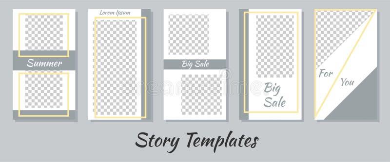 Un insieme delle storie minimalisti per le reti sociali Pagina per le vostre foto Seth per creare il vostro contenuto unico Model illustrazione vettoriale