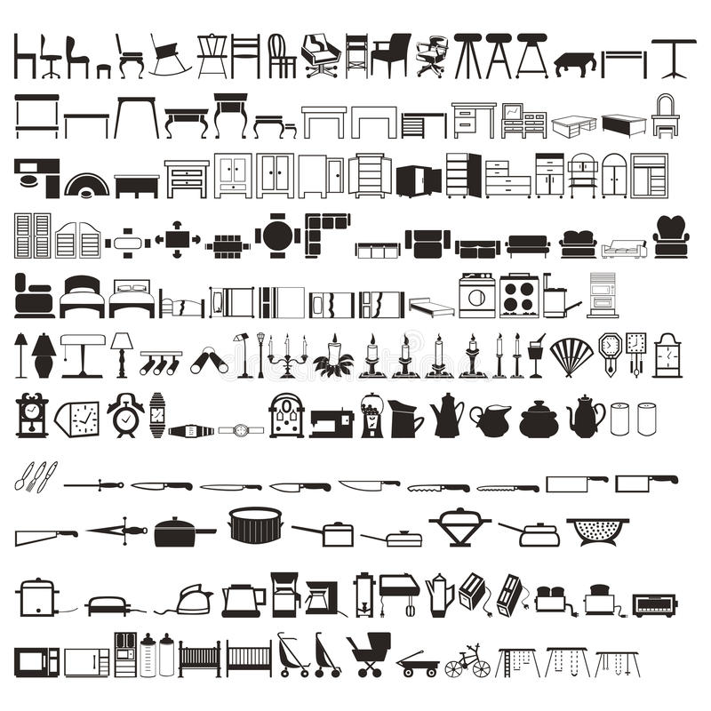 Un insieme delle Tabelle degli elementi della famiglia di 2 centinaia, dei letti, dell'articolo da cucina, ecc siluette Bello vet fotografie stock