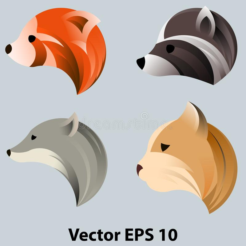 Un insieme delle teste degli animali nel profilo, per il logo Nel cerchio, il rapporto dorato royalty illustrazione gratis