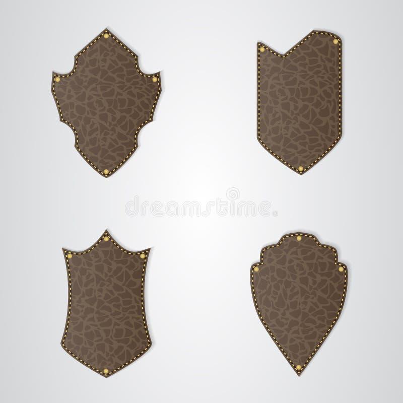 Un insieme dello schermo di cuoio marrone quattro con il filo dell'oro royalty illustrazione gratis