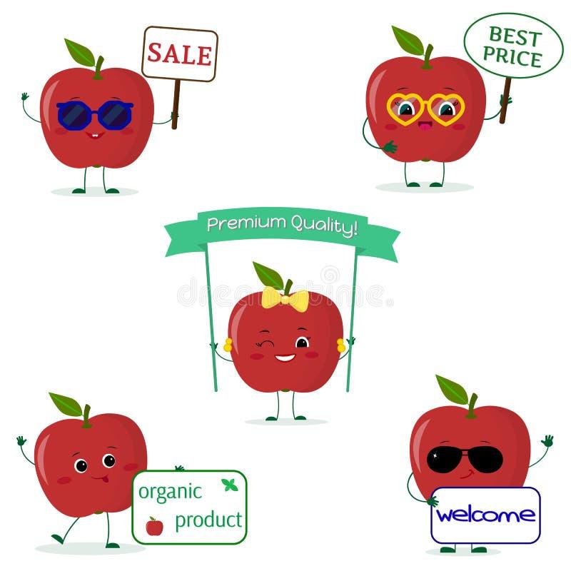 Un insieme dello smiley rosso della mela cinque nello stile del fumetto Con differenti piatti e vetri Logo, modello, progettazion royalty illustrazione gratis