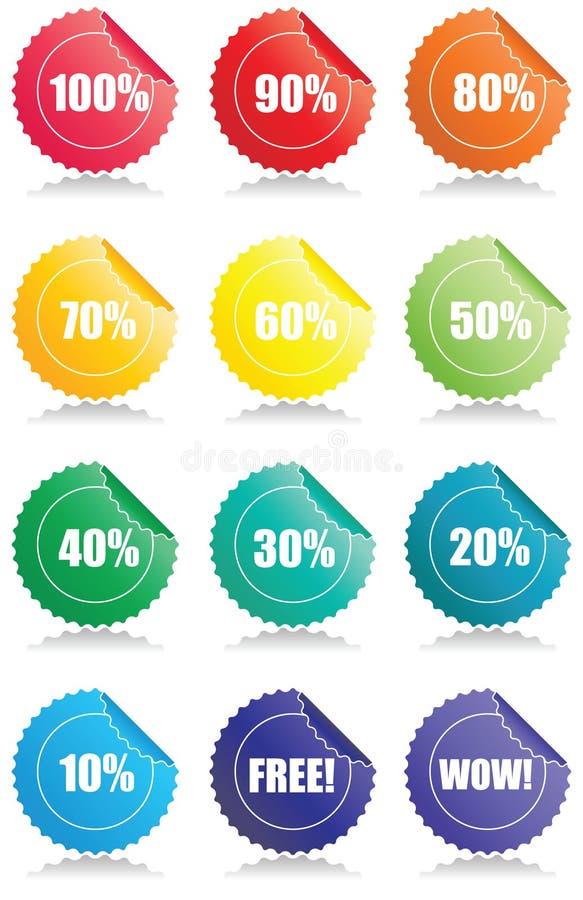 Un insieme di 12 modifiche lucide di vendite illustrazione vettoriale