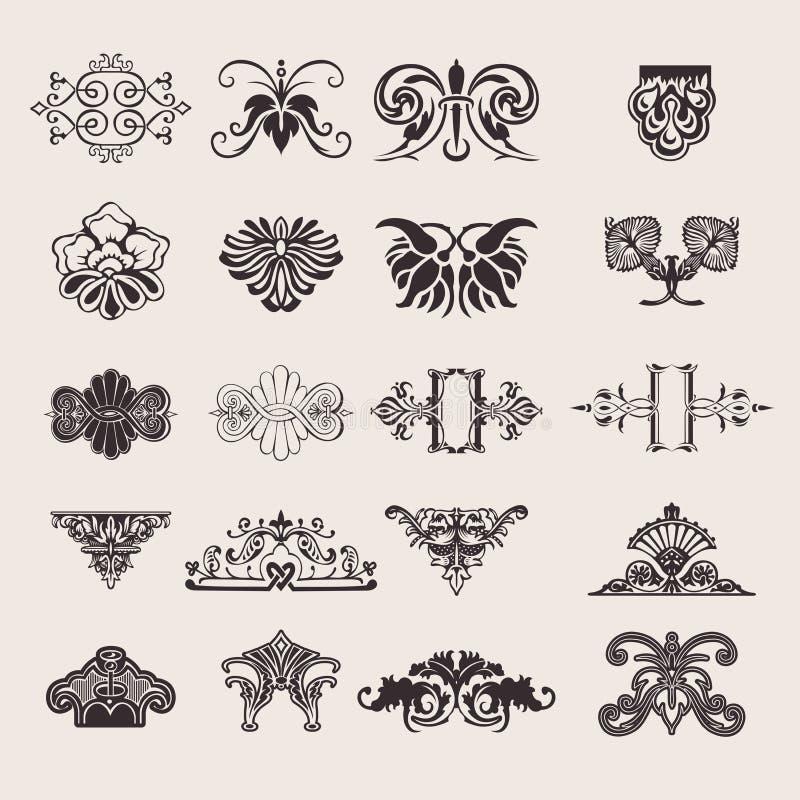 Un insieme di 20 elementi di un disegno di colore royalty illustrazione gratis