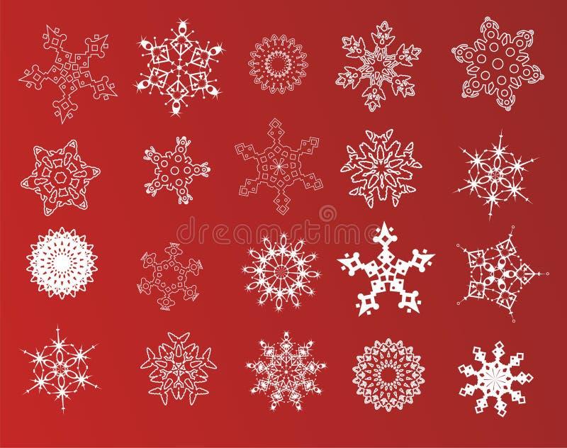 Un insieme di 20 fiocchi di neve immagini stock libere da diritti