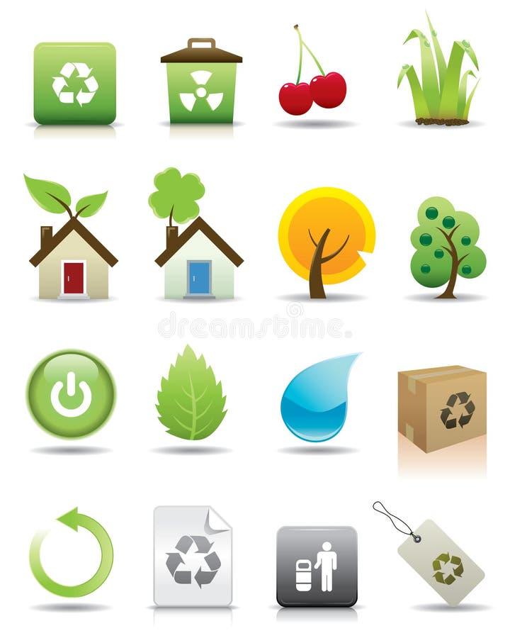 Un insieme di 20 icone verdi royalty illustrazione gratis