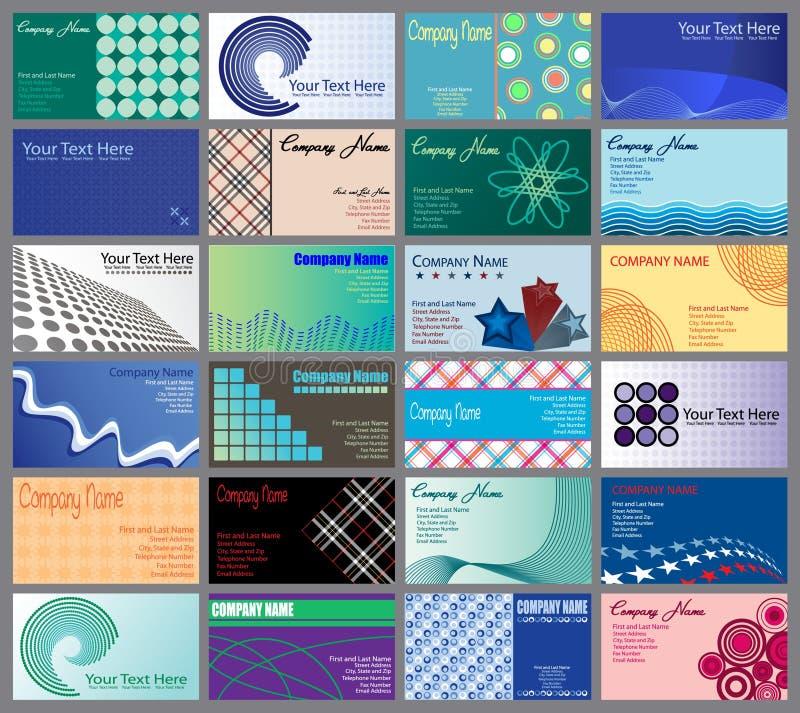 Un insieme di 24 biglietti da visita Desig illustrazione vettoriale