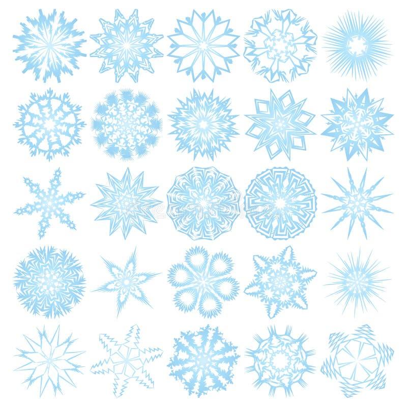 Download Un Insieme Di 25 Fiocchi Di Neve Illustrazione Vettoriale - Illustrazione di arte, nessuno: 7316256