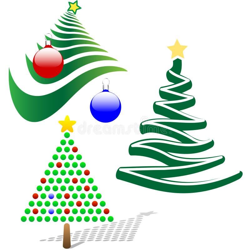 Un insieme di 3 elementi allegri di disegno dell'albero di Natale illustrazione vettoriale