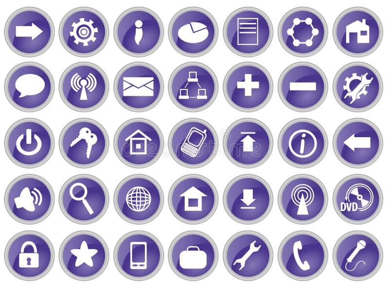 Un insieme di 35 icone del calcolatore royalty illustrazione gratis