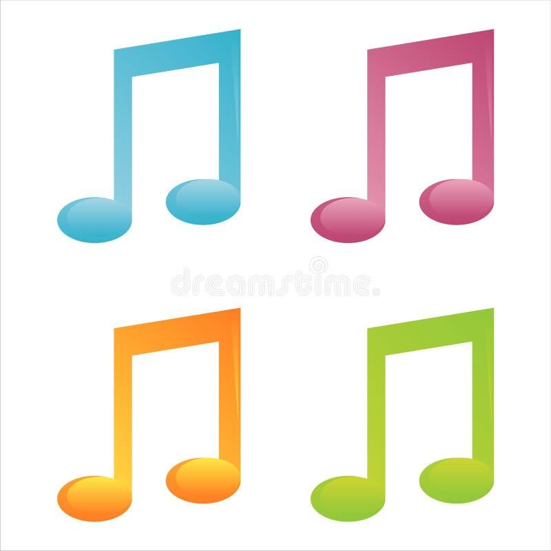 un insieme di 4 icone della nota musicale illustrazione di stock