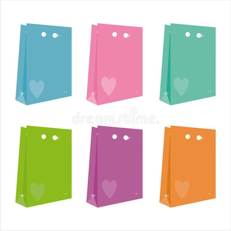 Un insieme di 6 icone dei sacchetti royalty illustrazione gratis