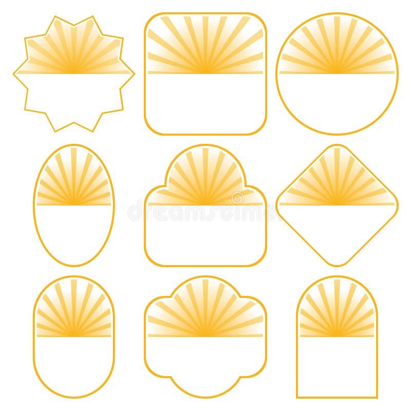 Un insieme di 9 disegni del distintivo royalty illustrazione gratis