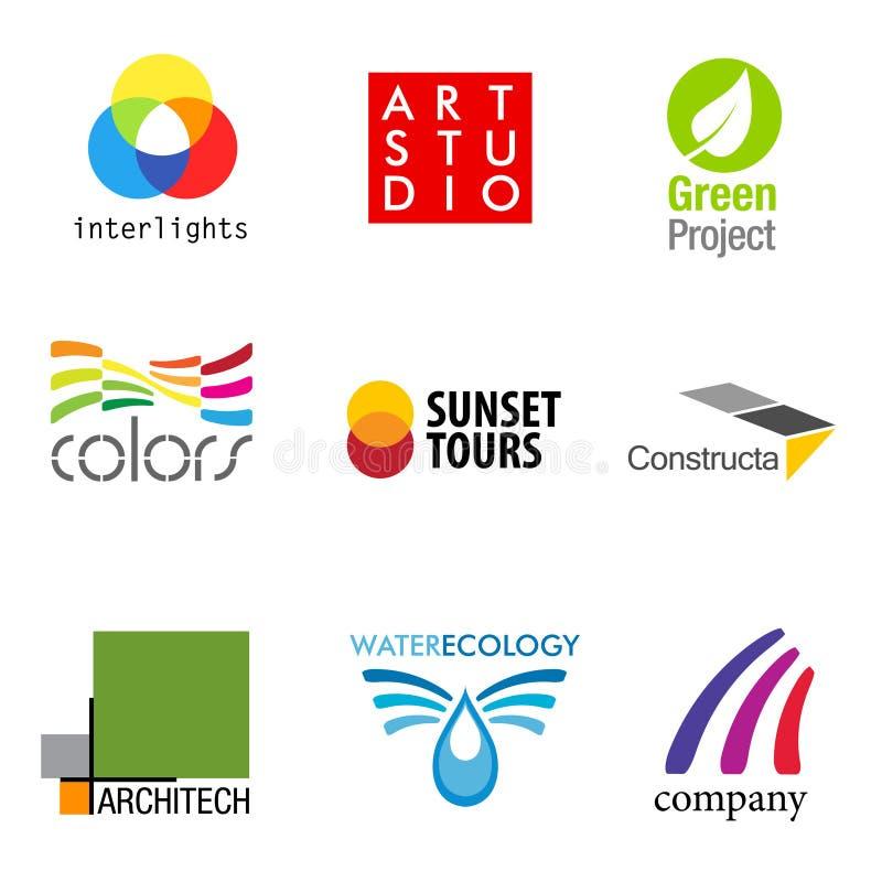 Un insieme di 9 disegni di marca illustrazione di stock