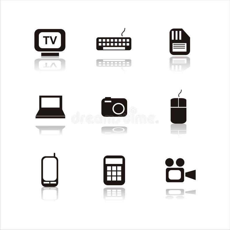 Un insieme di 9 icone di tecnologia illustrazione vettoriale
