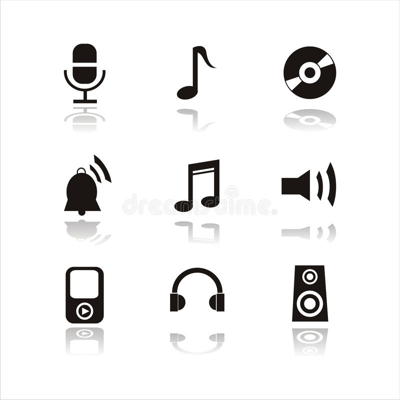 Un insieme di 9 icone musicali illustrazione di stock
