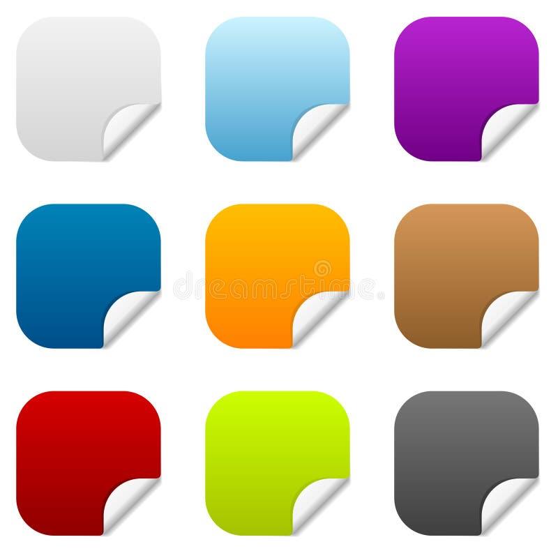 Un insieme di 9 icone quadrate dell'autoadesivo royalty illustrazione gratis