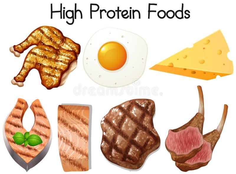 Un insieme di alimento ad alta percentuale proteica royalty illustrazione gratis