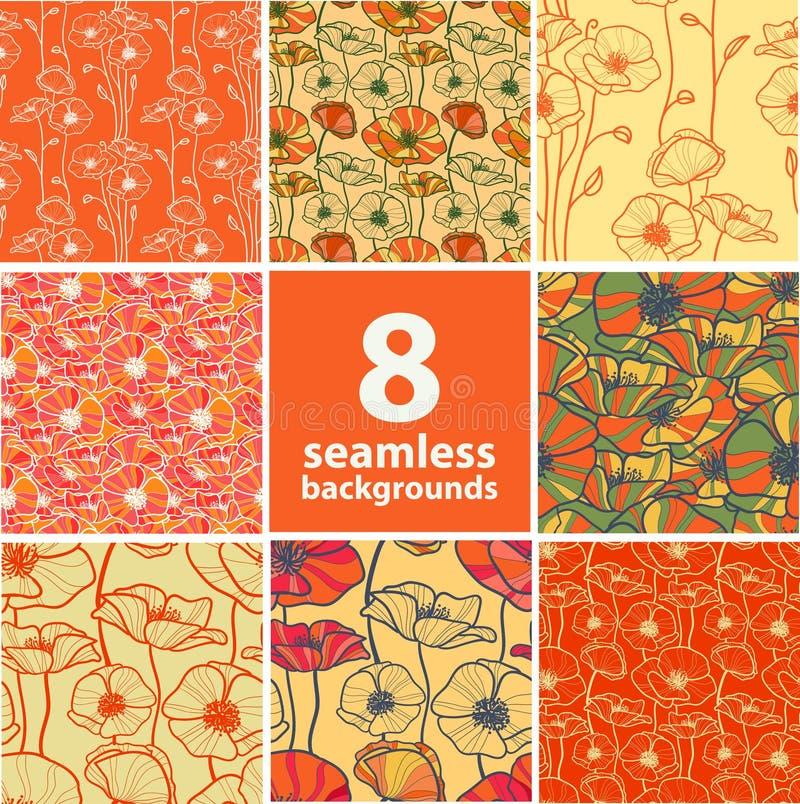 Un insieme di 8 ambiti di provenienza floreali senza cuciture illustrazione vettoriale
