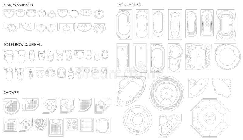 Un insieme di attrezzatura per il bagno Ciotola di toilette, orinale, lavandino, bagno, Jacuzzi, doccia Vista superiore Disegno u illustrazione vettoriale
