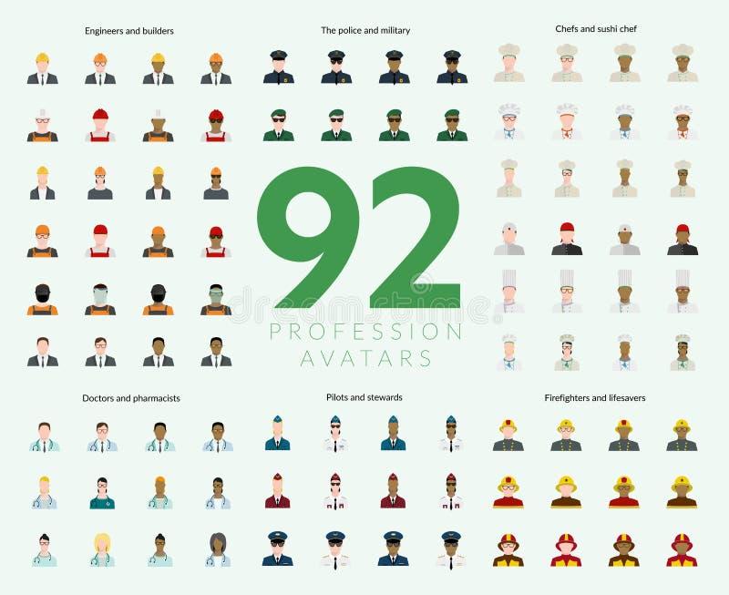 Un insieme di 92 avatar piani di professione illustrazione vettoriale