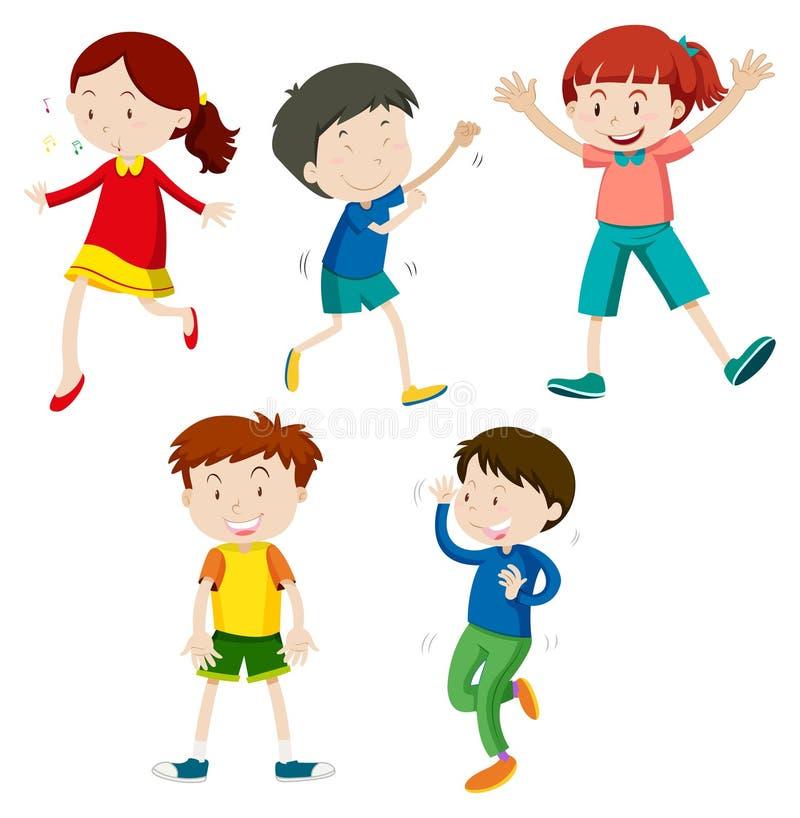 Un insieme di ballare dei bambini royalty illustrazione gratis