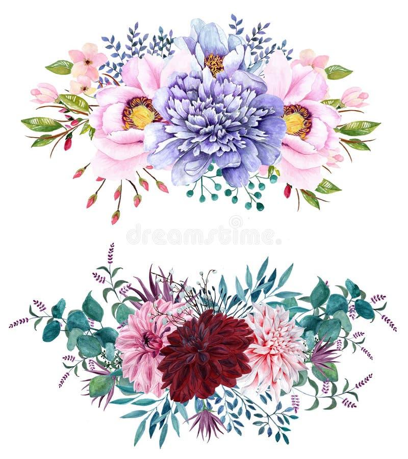 Un insieme di 2 bei mazzi dipinti a mano della peonia dell'acquerello royalty illustrazione gratis