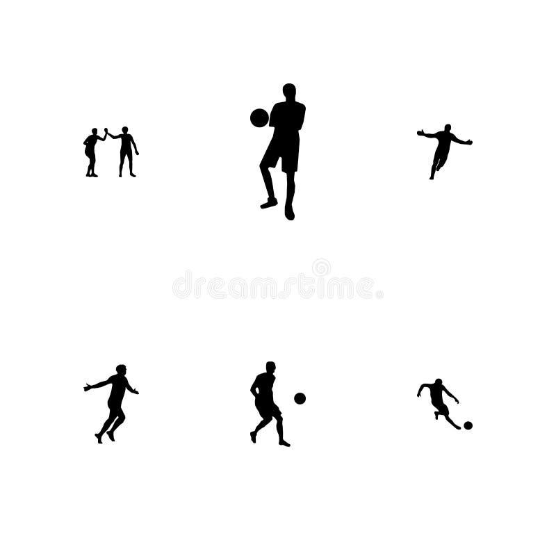 Un insieme di calcio della siluetta del nero di vettore, calciatori illustrazione di stock