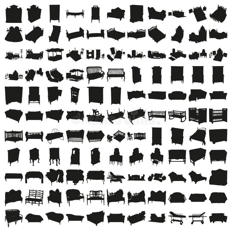 Un insieme di cento letti e siluette dei sofà fotografie stock