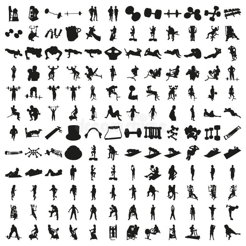 Un insieme di cento siluette di forma fisica Bello vettore fotografia stock libera da diritti