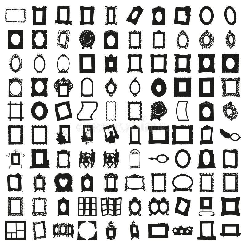 Un insieme di cento telai Bello vettore immagini stock libere da diritti