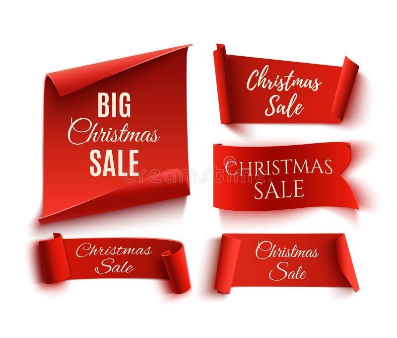 Un insieme di cinque insegne di carta realistiche di vendita rossa di Natale illustrazione vettoriale