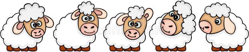 Un insieme di cinque pecore sveglie royalty illustrazione gratis