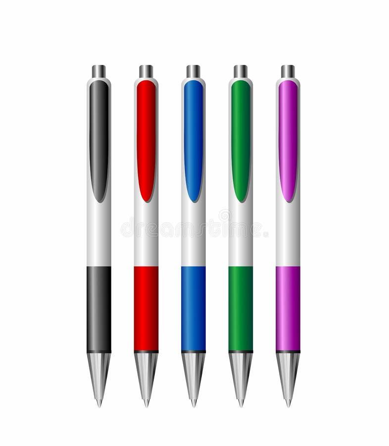 Un insieme di cinque penne realistiche variopinte illustrazione di stock