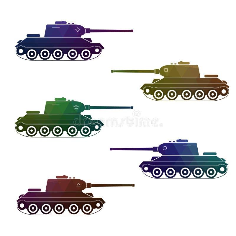 Un insieme di cinque retro carri armati multicolori di battaglia illustrazione vettoriale